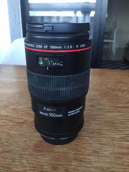 Lente Canon Macro Ef 100mm, 1:2.8, L, Is, Usm + Filtro Uv