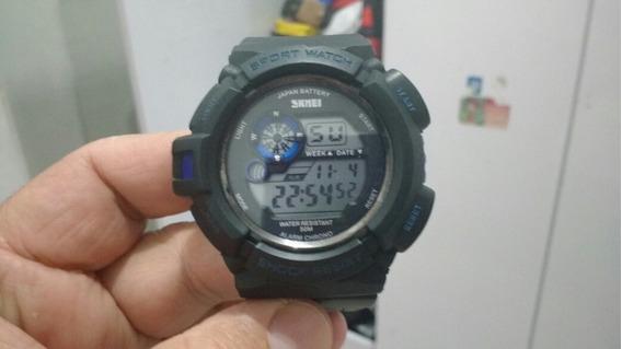 Relógio Digital Preto E Azul Linfo