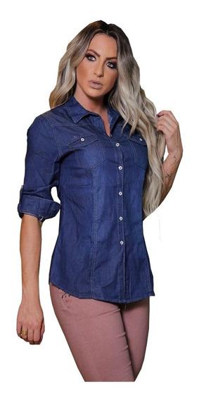 Camisa Blusa Feminina Jeans 2 Cores/ Azul Degrade Linda 2508