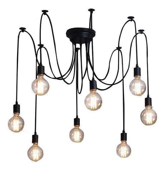 Lustre Para 8 Lampadas Preto - Thomas Edison