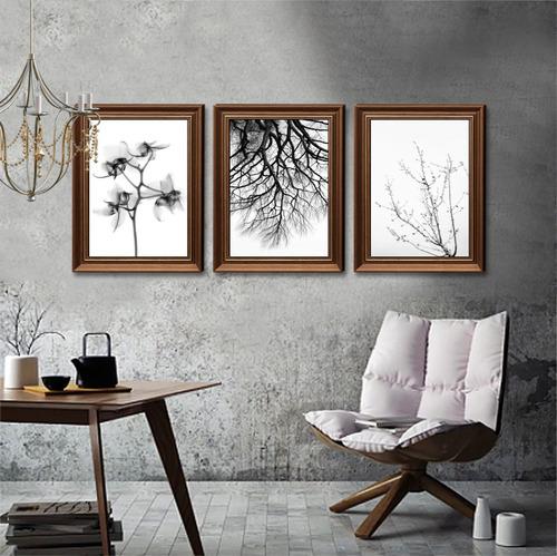 Quadro Decorativo Flores Preto E Branco Decoração Casa Sala