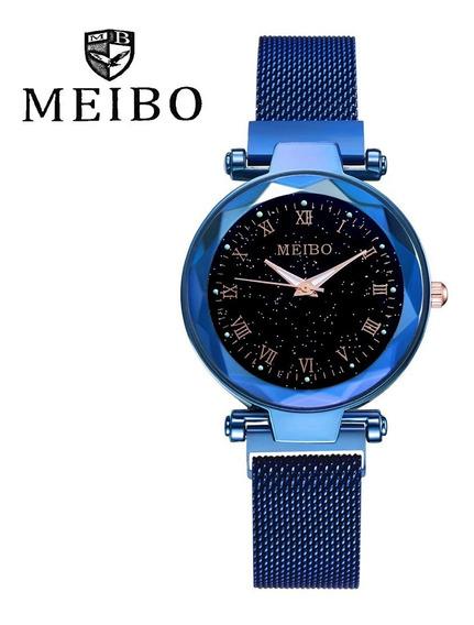 Relógio Feminino De Luxo Aço Inox Céu Estrelado - Meibo - Fecho Magnético