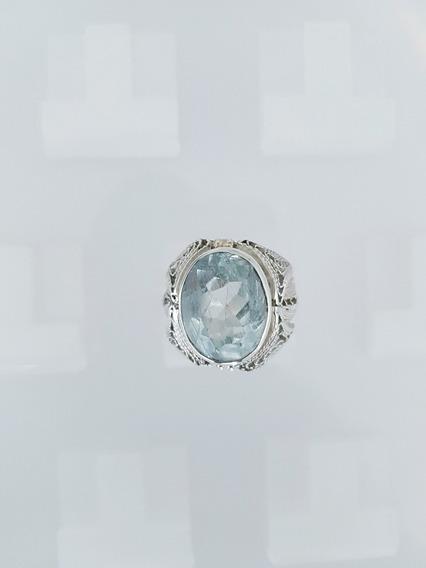 Anel Prata 950 Pedra Preciosa Natural Água Marinha Rutilado
