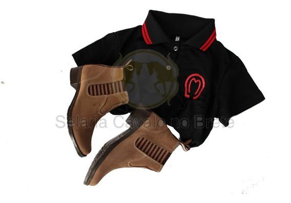 Quite Camisa Mangalarga + Botina De Couro Oferta