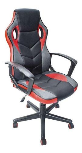 Imagen 1 de 4 de Silla de escritorio Top Living SILL13 gamer ergonómica  roja y negra con tapizado de cuero sintético y mesh