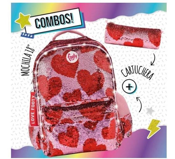 Combo Mochila 18¿ Corazon Rojo Con Luz Led Y Cartuchera