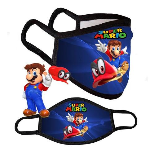 Tapaboca De Mario Bros Niños Reutilizable Tela Transpirable
