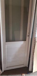 Puerta Exterior Aluminio Blanco 1/2 Vidrio