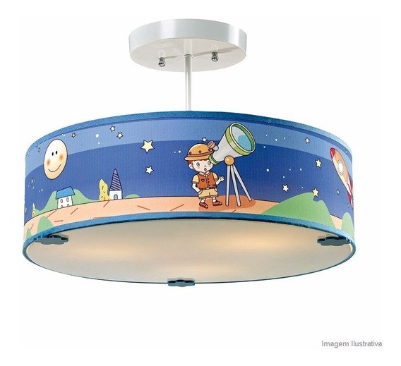Luminária Pendente Lustre Infantil Space Kids Taschibra