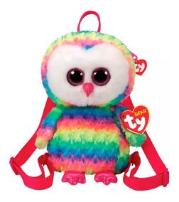 Mochila De Pelúcia Ty Fashion Coruja Owen Colorida Rainbow