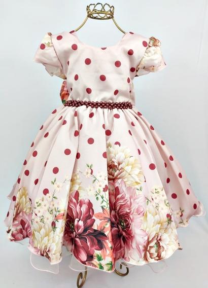 Vestido De Festa Infantil Poá Floral Rosê 4 Ao 16