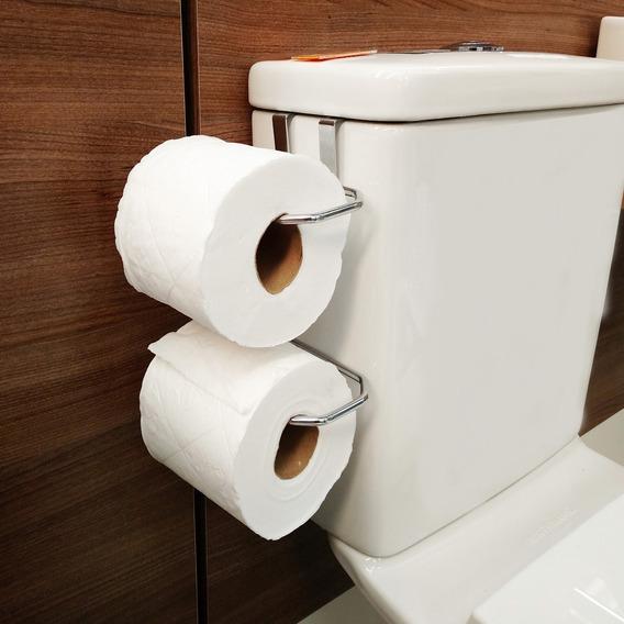 Suporte Duplo Porta Papel Higiênico Para Caixa De Descarga