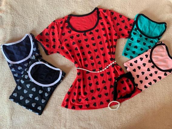 Kit 5 Blusas T-shirt Estampa Coração - Promoção