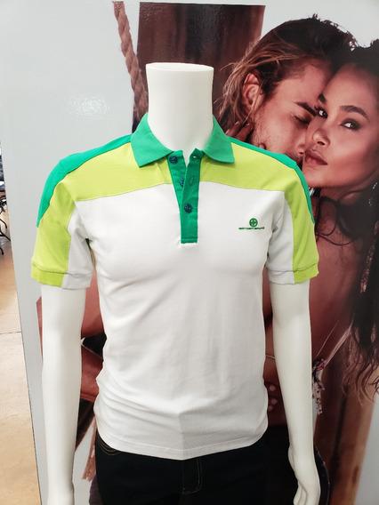 Playera Polo Caballero Marca Bratto Blanco Con Verde