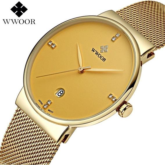 Wwoor - Relógio Masculino Elegante Malha De Aço