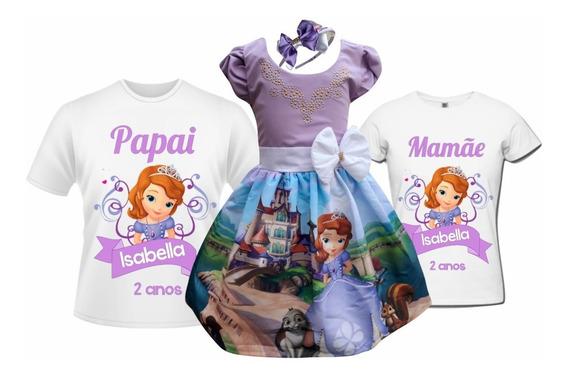 Vestido Princesa Sofia + Camisetas Pai E Mãe + Tiara