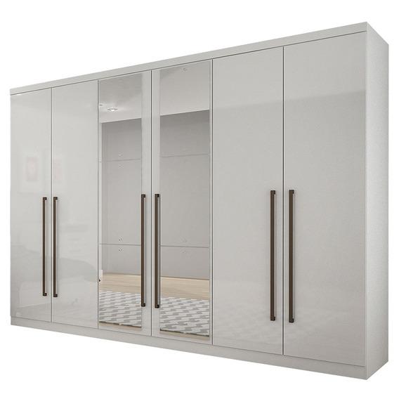 Guarda Roupa Casal C/ Espelho 6 Portas Novo Horizonte Branco