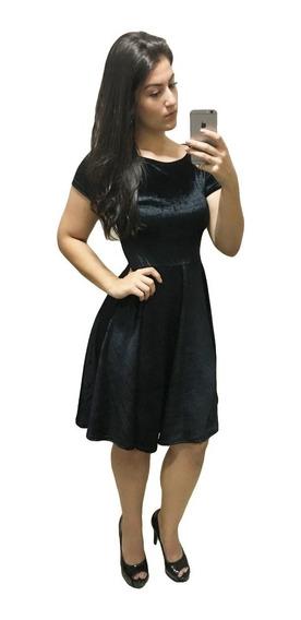 Vestido Midi Veludo Rodado Moda Evangélica 3030