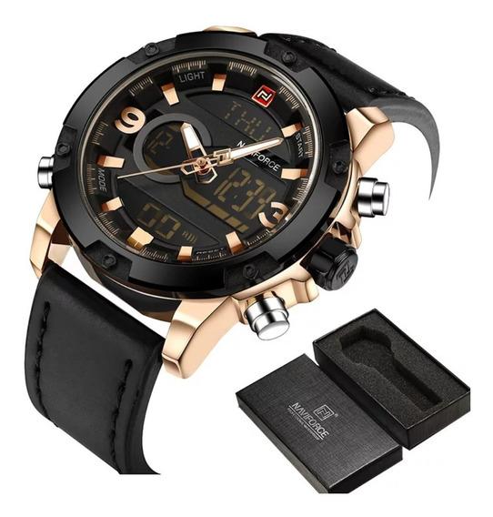 Relógios Masculinos Naviforce 9097 Em Couro Original Adulto