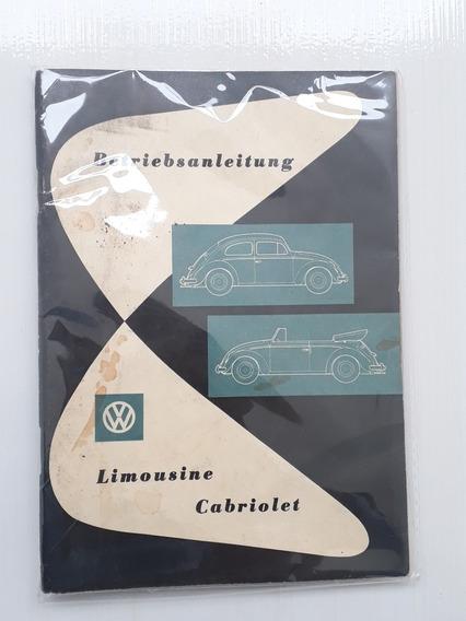 Raro De Manual Do Proprietário Do Fusca 1959 Em Alemão