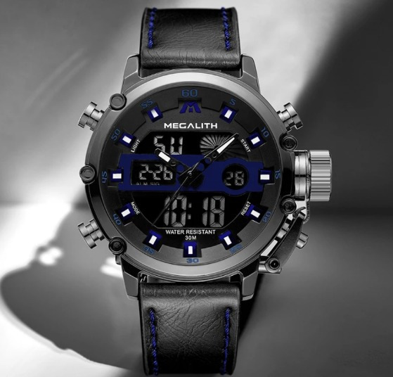 Relógio Megalith Original Couro Preto E Azul .