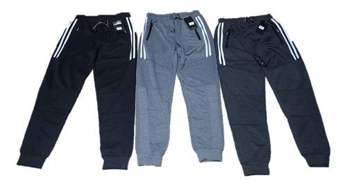 Imagen 1 de 3 de Pack 3 Pantalones Buzo Hombre Algodón. Fit Lineasdeportivo