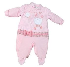 Macacão Para Bebê Longo Em Malha Rosa Para Meninas.
