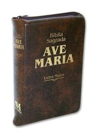 Bíblia Sagrada Letra Maior Zíper Marrom Ave Maria