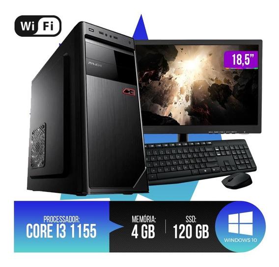Pc Completo Core I3 4gb Ram Hd Ssd 120gb Monitor 18,5 Led