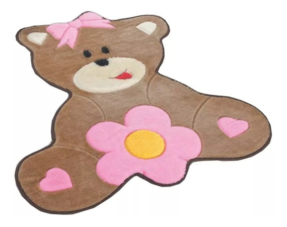 Tapete Pelúcia Infantil Ursa & Urso Rosa Quarto Menina(o)