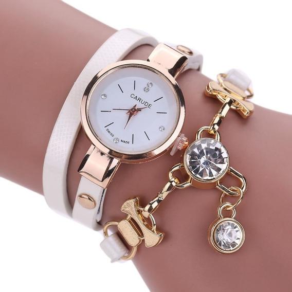 Relógio Feminino Dourado Pulseira Bracelete Pedras Promoção