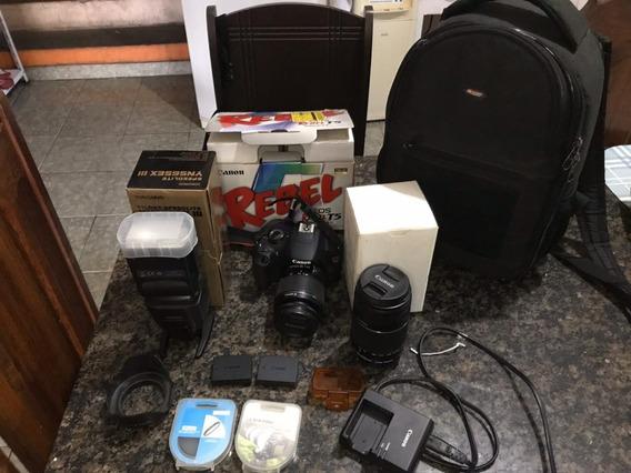 Câmera T5 + Lentes + Acessórios.