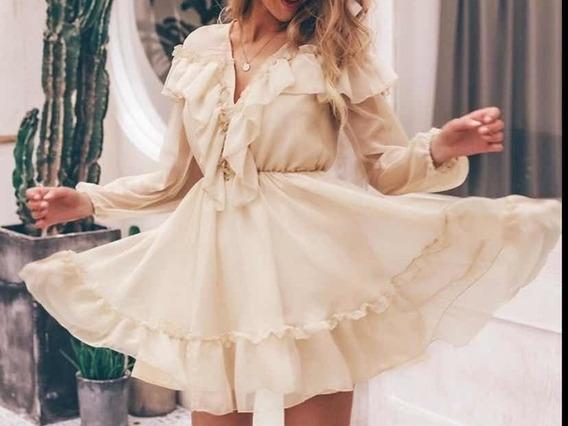 Hermoso Y Elegante Vestido Con Olanes