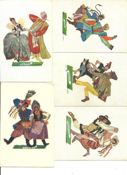 Polonia:5 Postales Polacas Año 1940 (danzas Típicas)