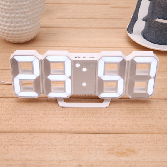Reloj Digital Led Luminoso Números Blanco 3d, Alarma, Usb