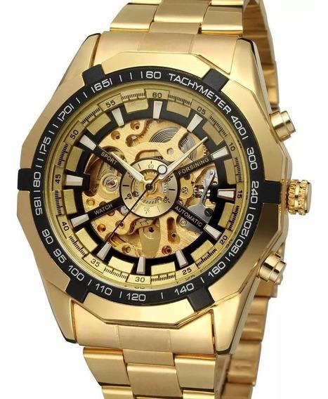 Relógio Masculino Original Forsining Automático Esqueleto Dourado Aço Inox Mecânico Luxo A Corda C/ Caixa Pronta Entrega