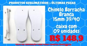 Cx 09 - Chinelo Borracha Branca 15mm Tam 39/40 - Sublimação
