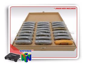 Caixa Cartucho Nintendo 64 N64 Em Mdf Capacidade 24 Jogos