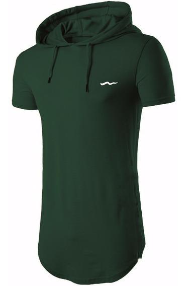 Camisa Longline Oversized Com Capuz Meio Swag Básica Bordada