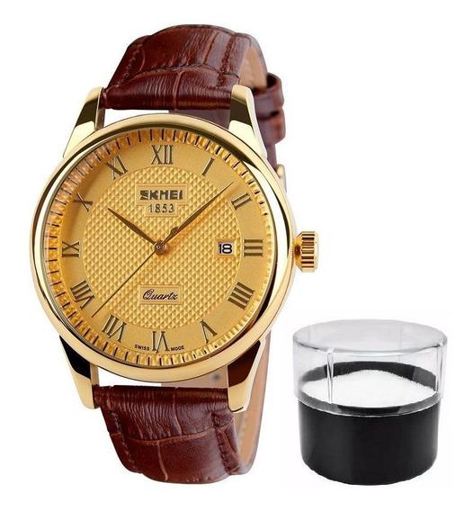 Relógio Skmei 9058 Luxo Original Pulseira Couro Nota Fiscal