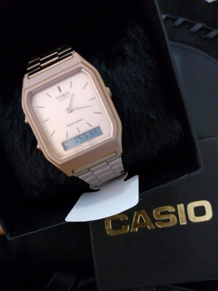 Relogio Casio Rose Aq-230 Analógico E Digital Oficial