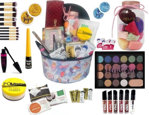 Imagem 1 de 5 de Maleta Maquiagem Top Profissional Completa Maquiador + Brind