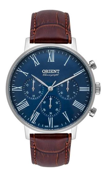 Relógio Masculino Prata Orient Cronógrafo Pulseira Couro