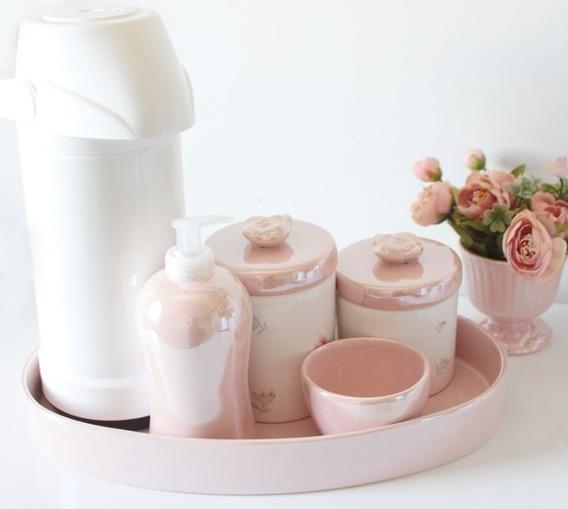Kit Higiene Bebe Floral Rosa Perolado C/ Bandeja E Garrafa