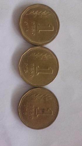 Lote De 3  Monedas De Bronce Un Peso Año 1974 75   76