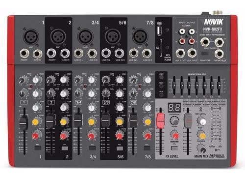 Consola Mixer Novik Nvk-802fx Usb 8 Canales Slim Efectos