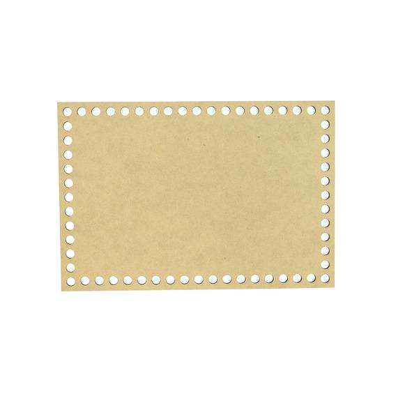 Placa Base Retangular Cesto Fio De Malha Croche 30x20 Mdf