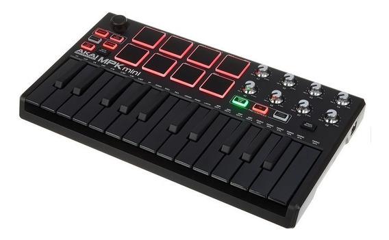 Akai Mpk Mini Mk2 Teclado Controlador Midi Usb Pads Knobs !