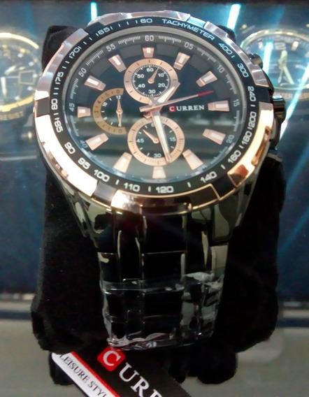 Relógio Crurren Preto Dourado Importado - Novo