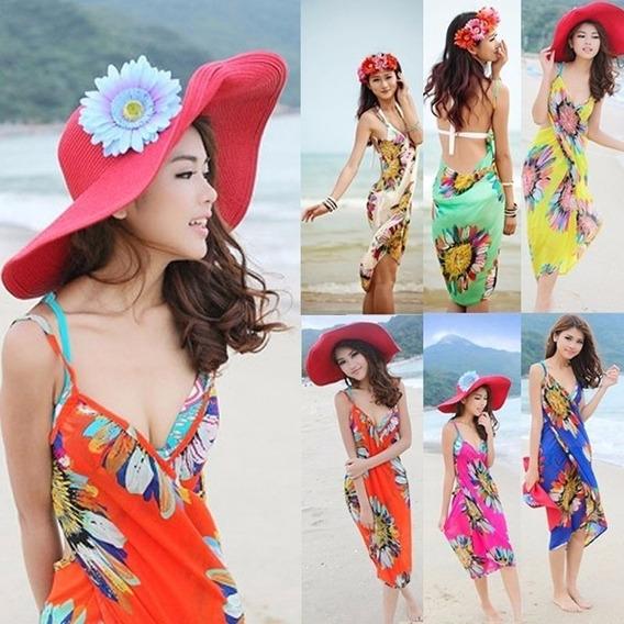 Canga - Saia - Vestido - Saída De Praia Com Alças - Floral